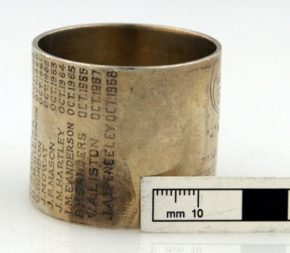 Fingerprint etched into the surface of a napkin ring