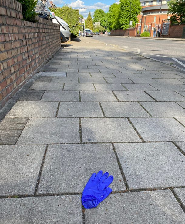 Discarded nitrile glove on Manor Rd, North London
