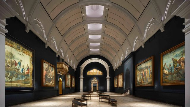 A view of the newly decorated Raphael Court at the V&A