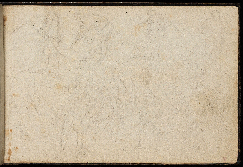 Pencil studies of men scything