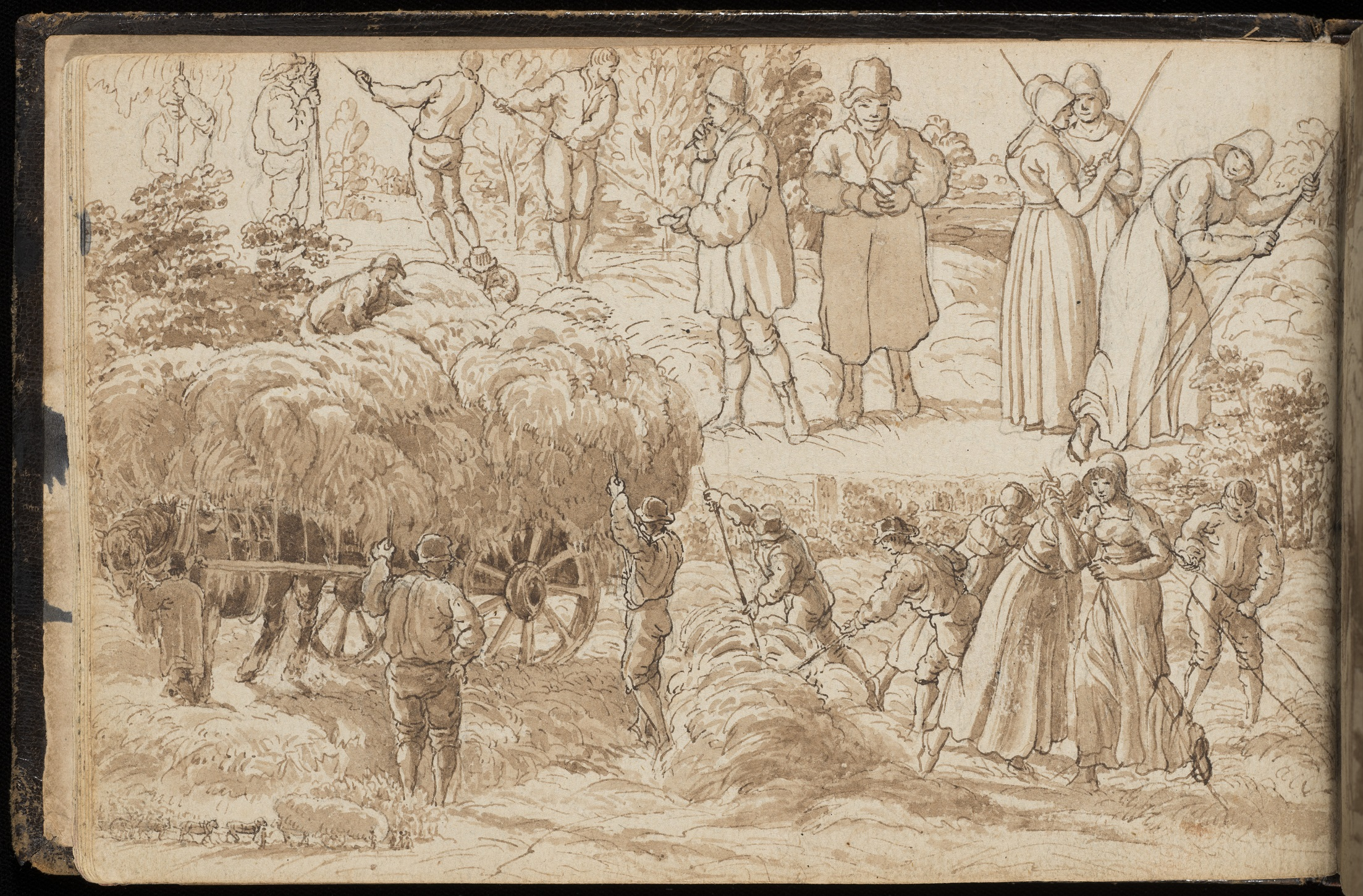 Drawing of farm workers loading carts with hay