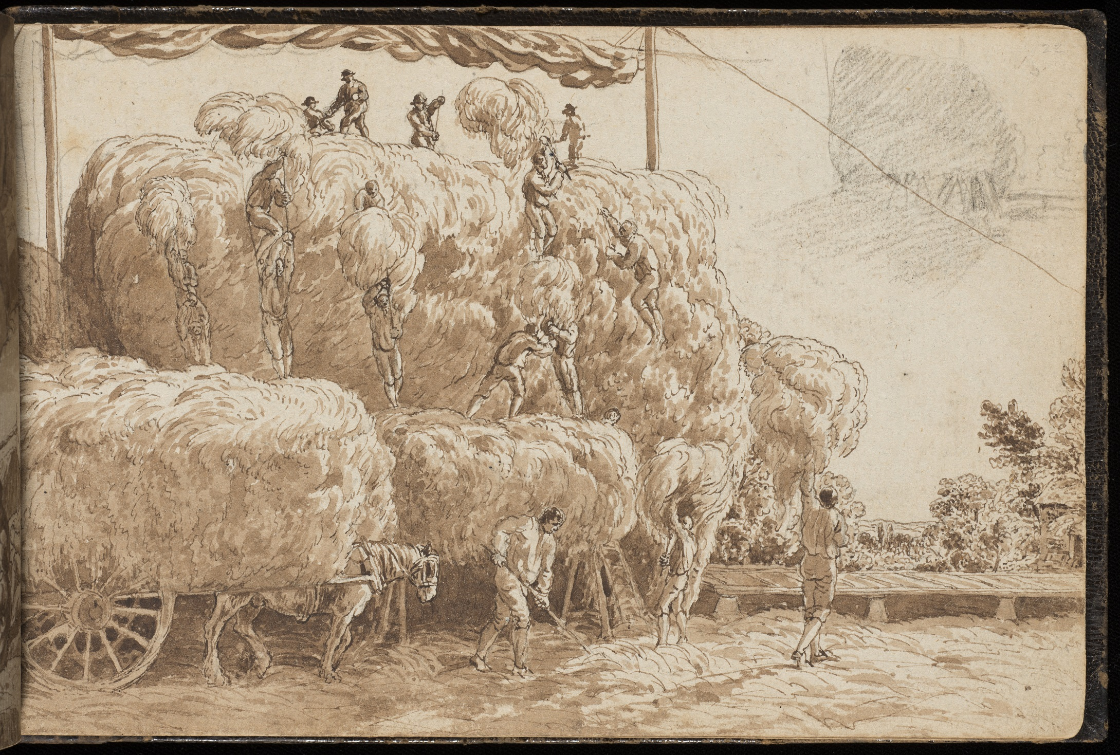 Drawing of farm workers building a hayrick
