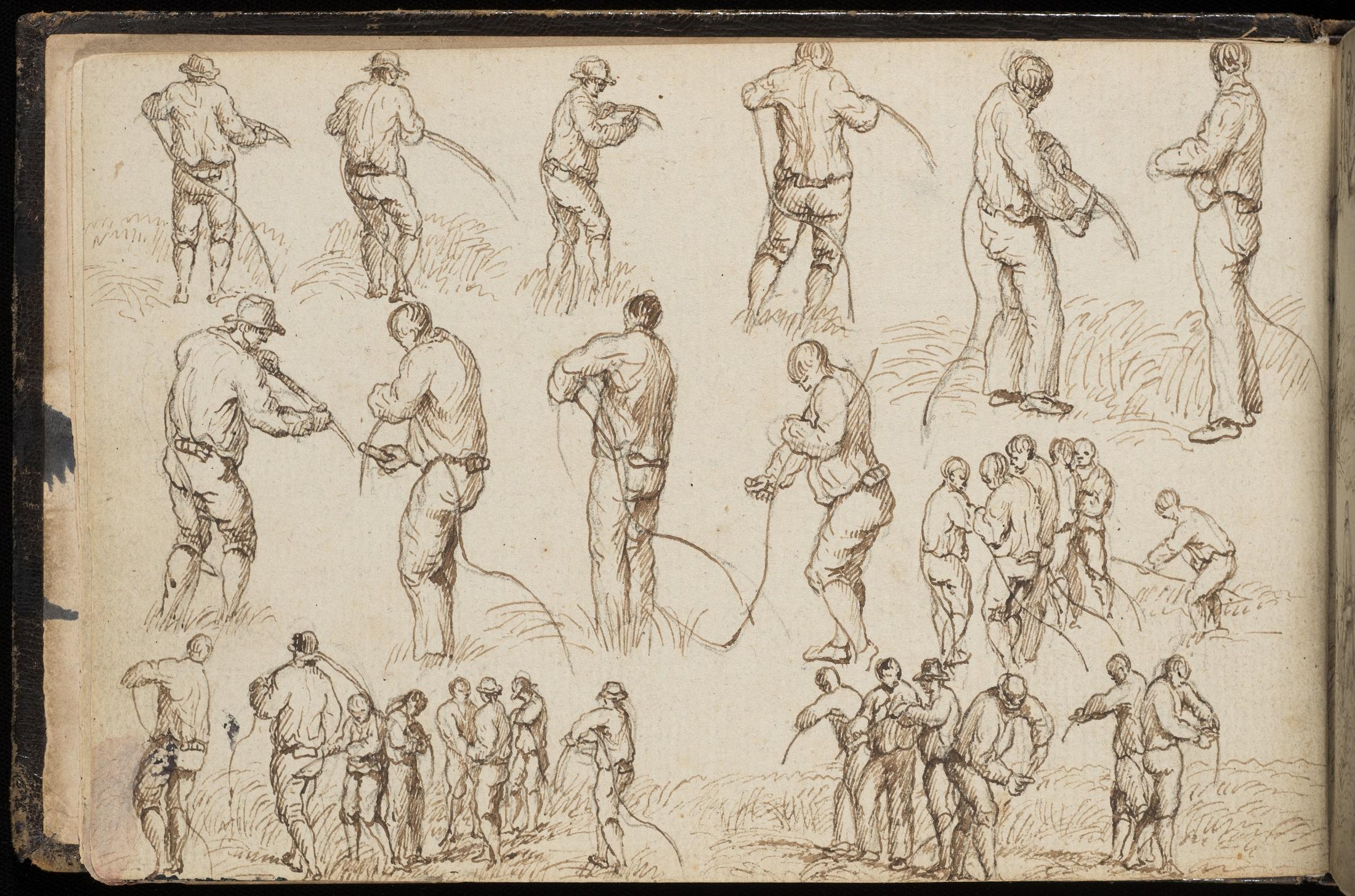 Drawing of men sharpening scythe blades