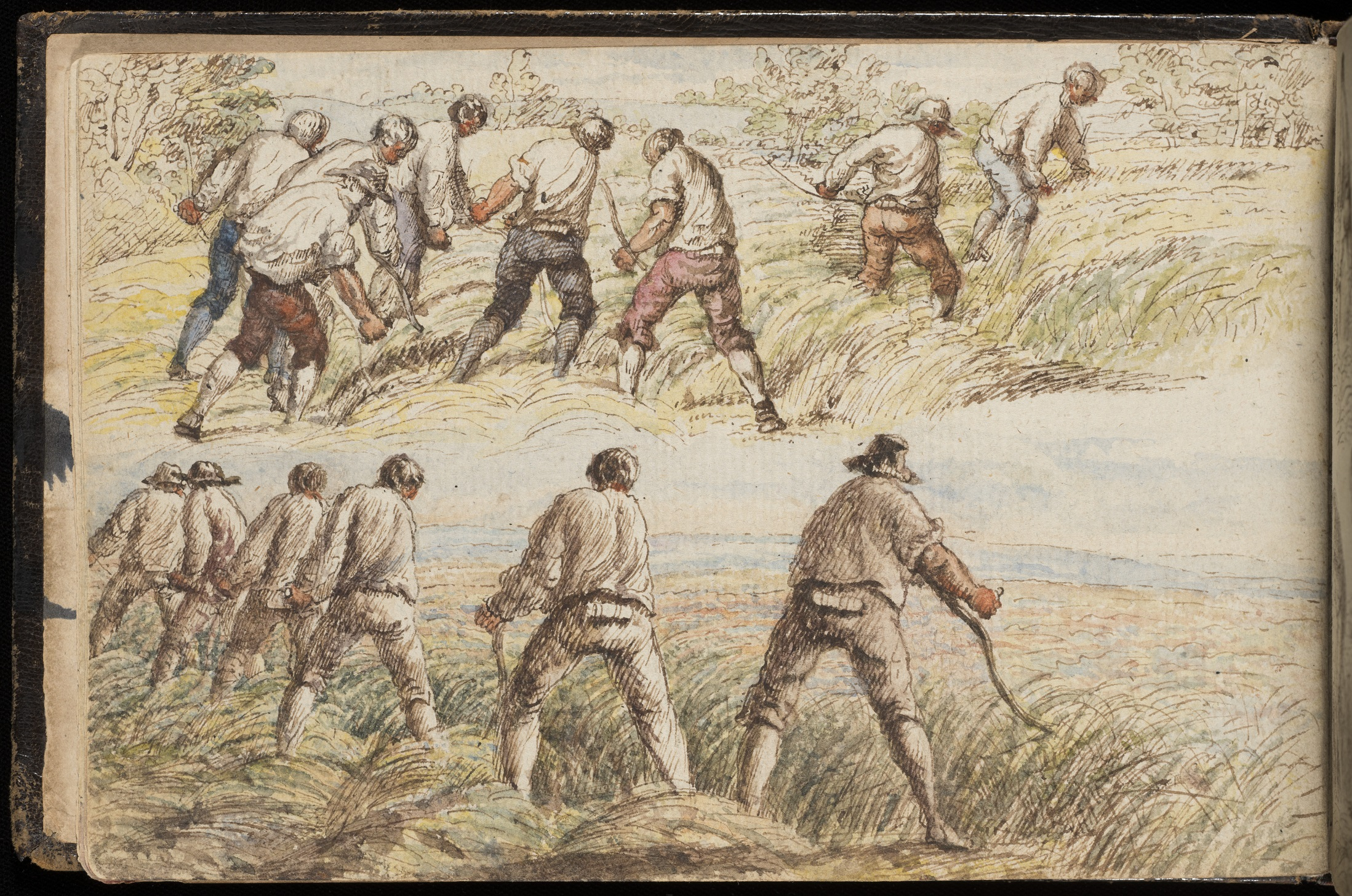 Watercolour drawing of men scything