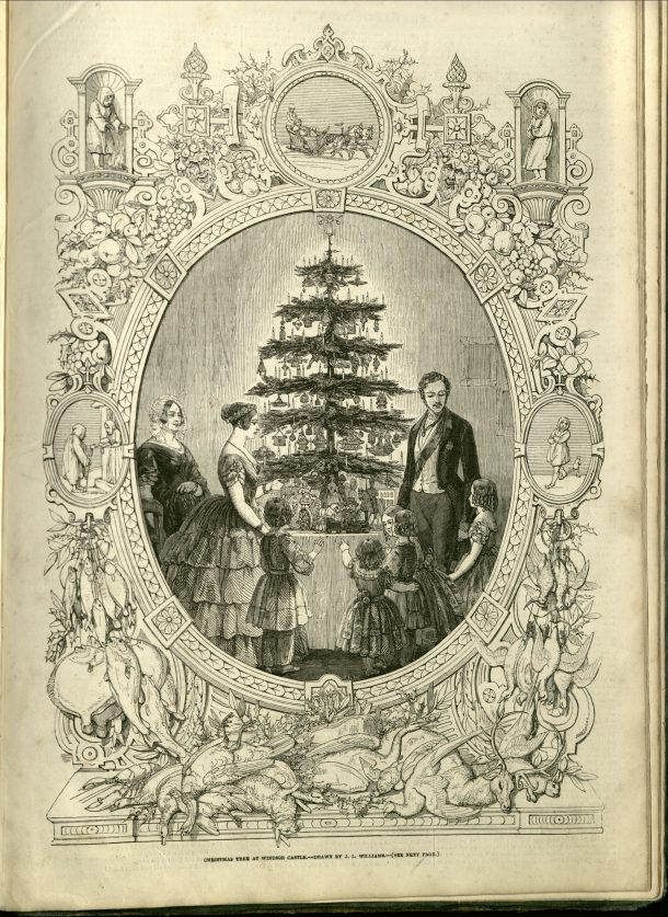Prince Albert stands with four of his children to one side of a decorated tree and Queen Victoria, her mother and one daughter on the other. There is an intricate border around the scene with rondels containing depictions of Christmas themes.