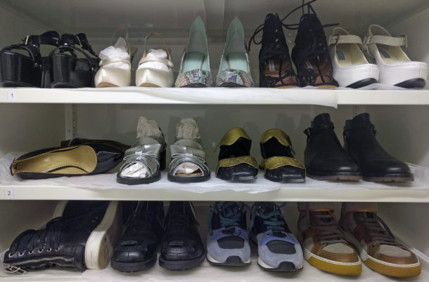 Shelves of shoes from 2010 onwards.