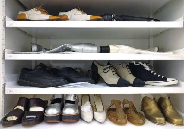 A selection of shoes from the 1940s-1990s that were acquired for the Streetstyle exhibition