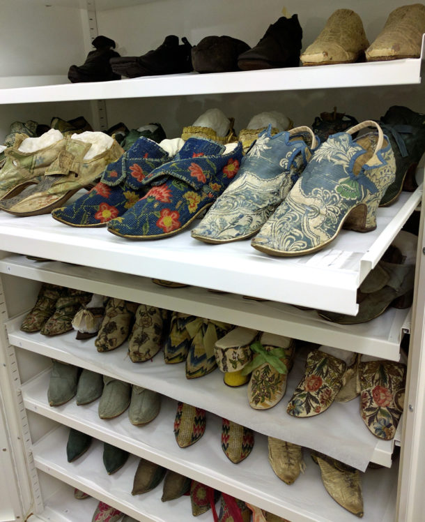 Storage shelves of womens shoes dating c.1700-1750