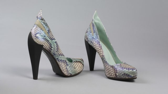 Pair of shoes, turquoise snake skin high heels, 'Spock A3', S/S 2010, Atalanta Weller, designed in Great Britain, made in Portugal, 2010.