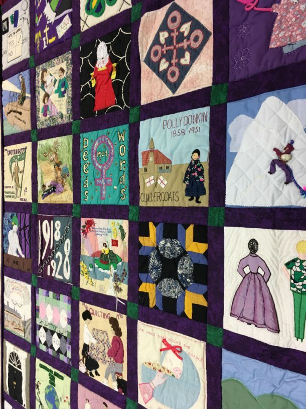 The Woman's Hour quilt T.1-1996 marking 75 years of women's suffrage