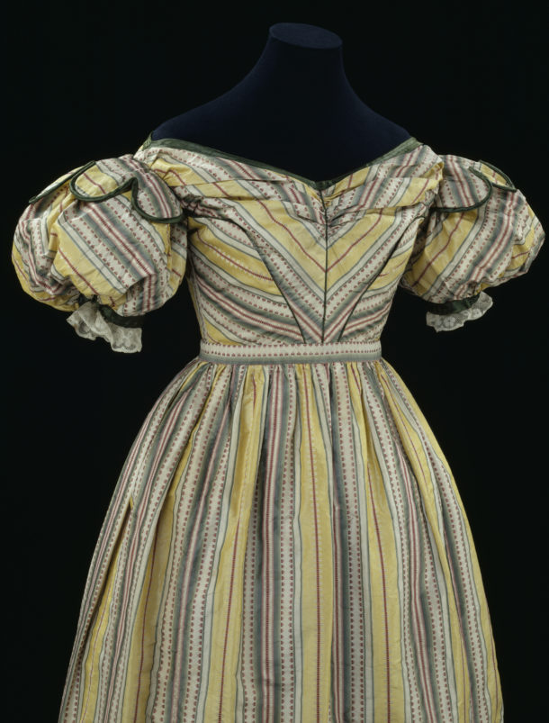 Dress (front detail); brocaded silk striped in yellow, green, white, pink and red (18th Century); c.1828; British.