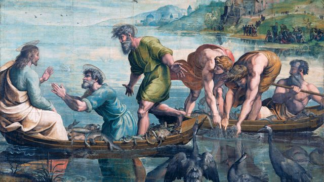 Raphael Cartoon, The Miraculous Draught of Fishes: Luke Chapter 5: Verses 1–11, by Raphael, 1515 – 16, Italy. Museum no. ROYAL LOANS.2. © Victoria and Albert Museum, London
