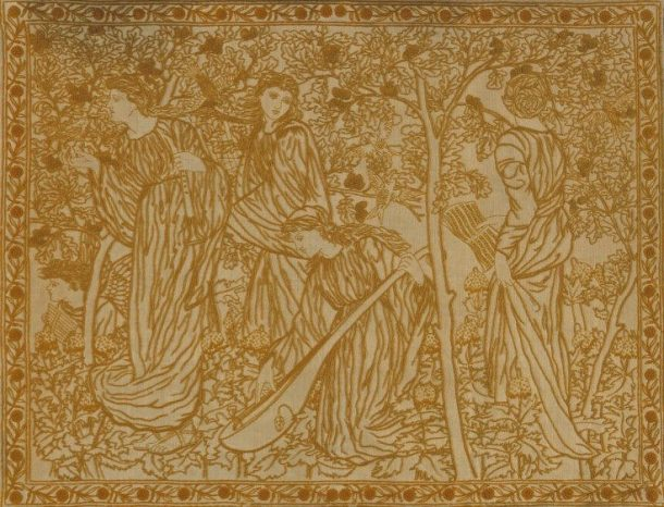 Panel hanging of embroidered linen with wools. With a linen ground embroidered in wool in shades of light brown in outline, chain, stem and satin stitches and French knots. With a design within a narrow floral border of four female figures and a winged boy playing musical instruments among trees and birds.