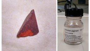 Image of mercury sulfide mineral, left, and the resulting vermilion pigment, right (photo by Lucia Burgio)