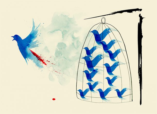 Twitter Jail, illustration by Ann Kiernan