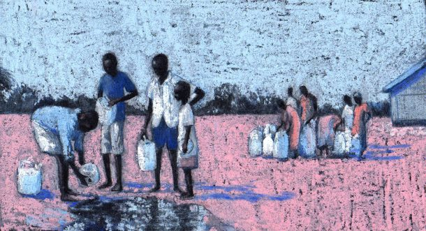 'Home in the Kakuma Refugee Camp', illustration by Sally Dunne