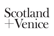Black text on white background saying Scotland + Venice