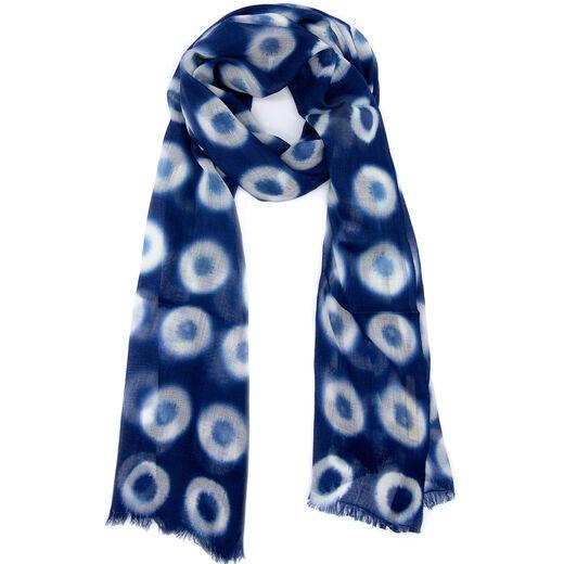 Indigo clamp dye wool scarf