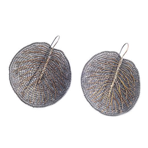 Leaf knit hook earrings by Milena Zu