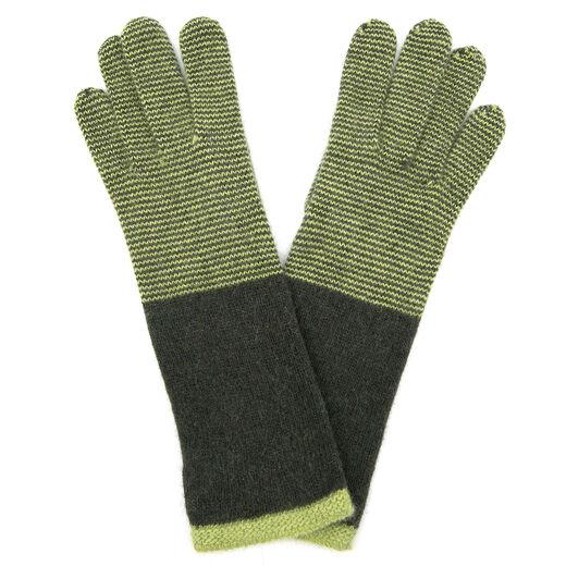 Green long stripe gloves by Santacana