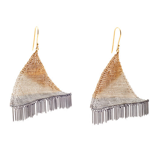 Triangle knit hook earrings by Milena Zu