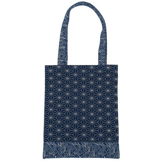 Indigo geometric tote bag