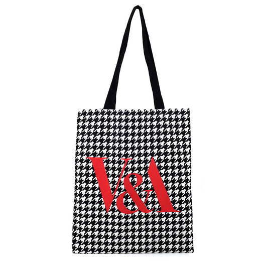 White Houndstooth tote bag