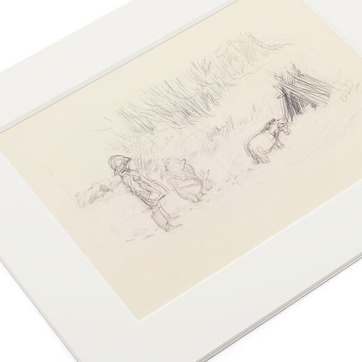 Looking at the shelter of sticks - mounted print