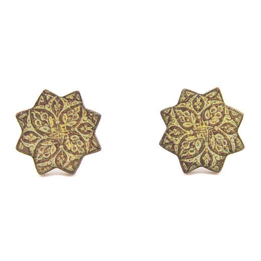 Golden tile stud earrings