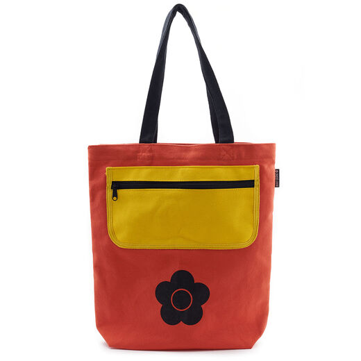 Mary Quant yellow pocket tote bag