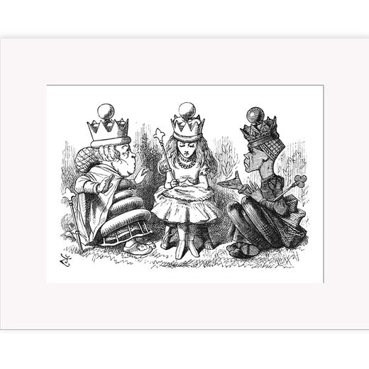 Alice and the Queens – mounted print