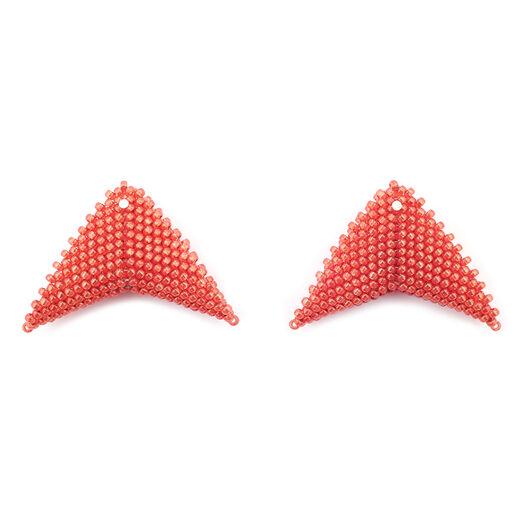 Red triangle stud earrings by Beloved Beadwork