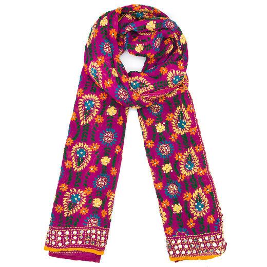 Fuchsia mirrorwork scarf