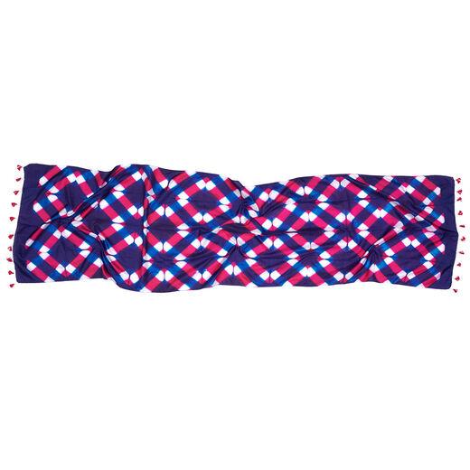 Pink and blue clamp Mulbari silk scarf