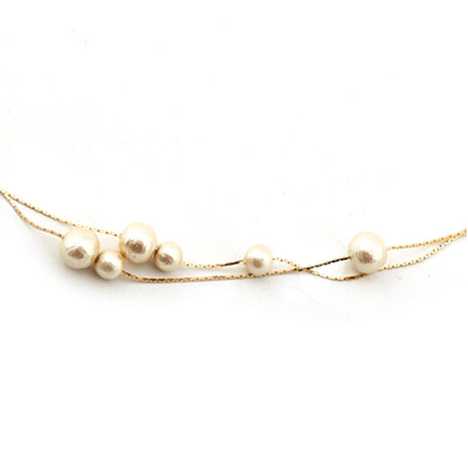 Petite cotton pearl necklace by Anq