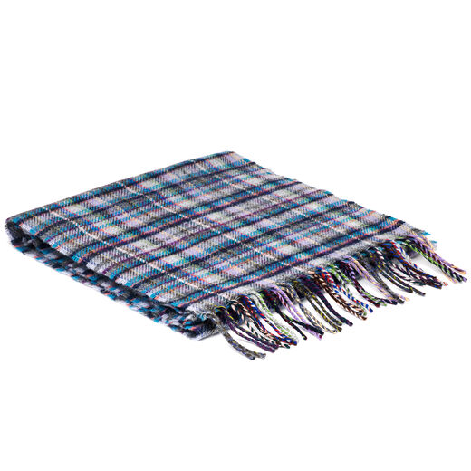 Blue Mini Check Scarf by McNutt of Donegal