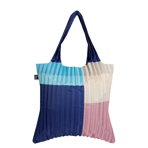 Pink and blue pleated tote bag