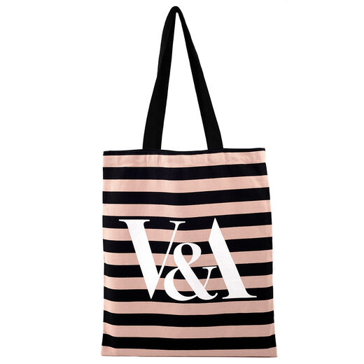 Pink stripe tote bag