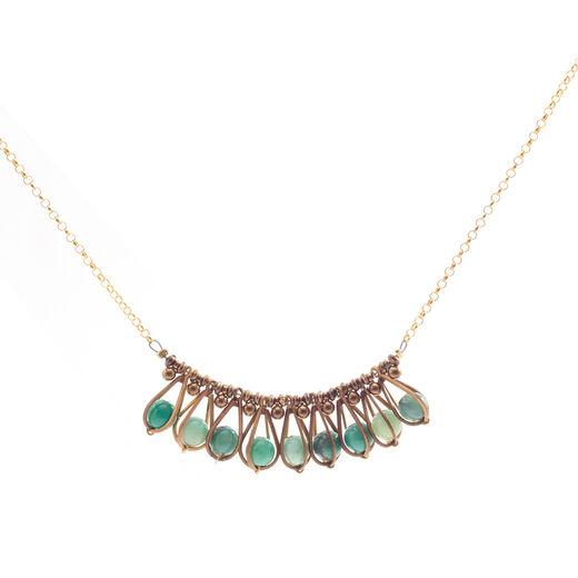 Turquoise fan necklace by Joli