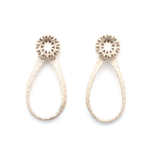 Filigree button mesh loop earrings by Sarah Cavender