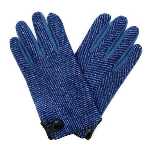 Men's blue herringbone gloves by Santacana