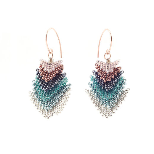 Copper and turquoise triangle drop hook earrings by Beloved Beadwork