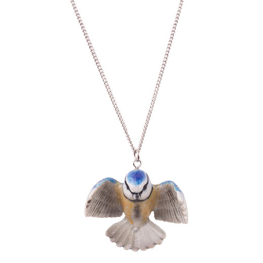 Porcelain blue tit necklace by And Mary