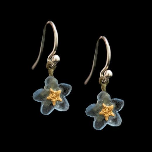 Forget-me-not hook earrings by Michael Michaud