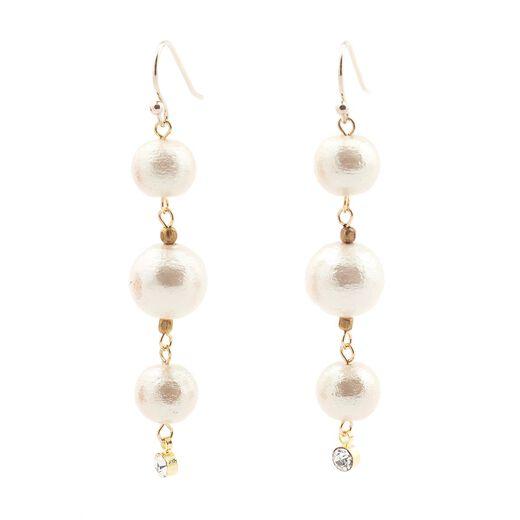 Triple cotton pearl hook earrings by Anq