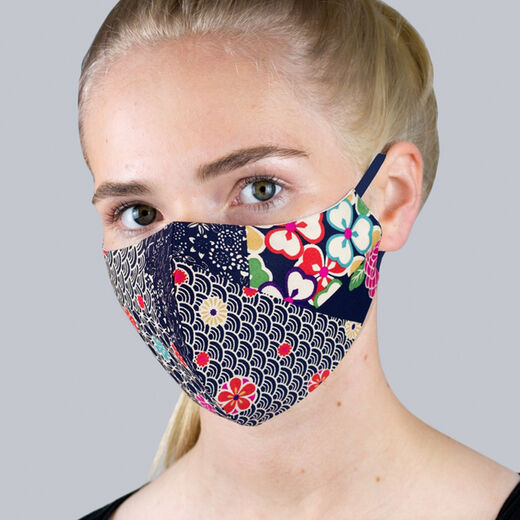 Navy kimono patchwork face mask
