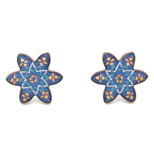 Blue tile stud earrings