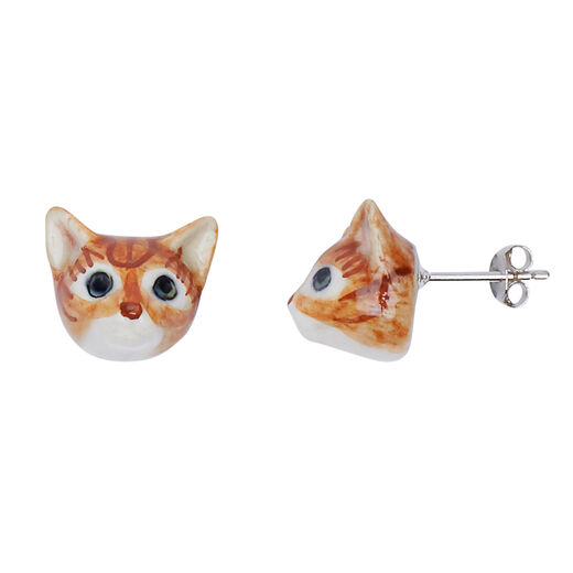 Porcelain ginger cat earrings by And Mary