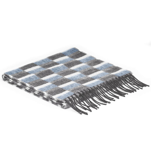 Blue Grey Check Scarf by McNutt of Donegal