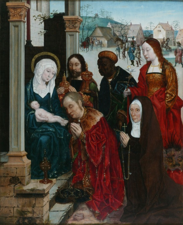 Image of The Adoration of the Magi with St Margaret and a Nun